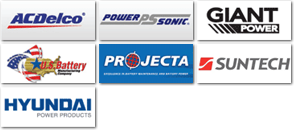 We stock ACDelco, PowerSonic, Giant Power, US Battery, Projecta, Suntech, Hyundai Power Products